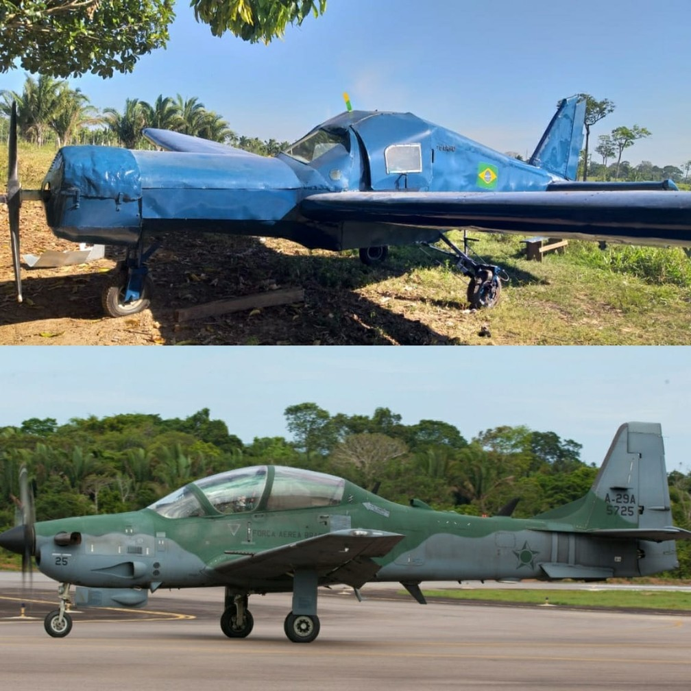 Montagem mostra foto de avião construído por irmãos e modelo original usado pela FAB — Foto: Colniza MT Notícia e Cabo V. Santos-FAB/ Montagem G1
