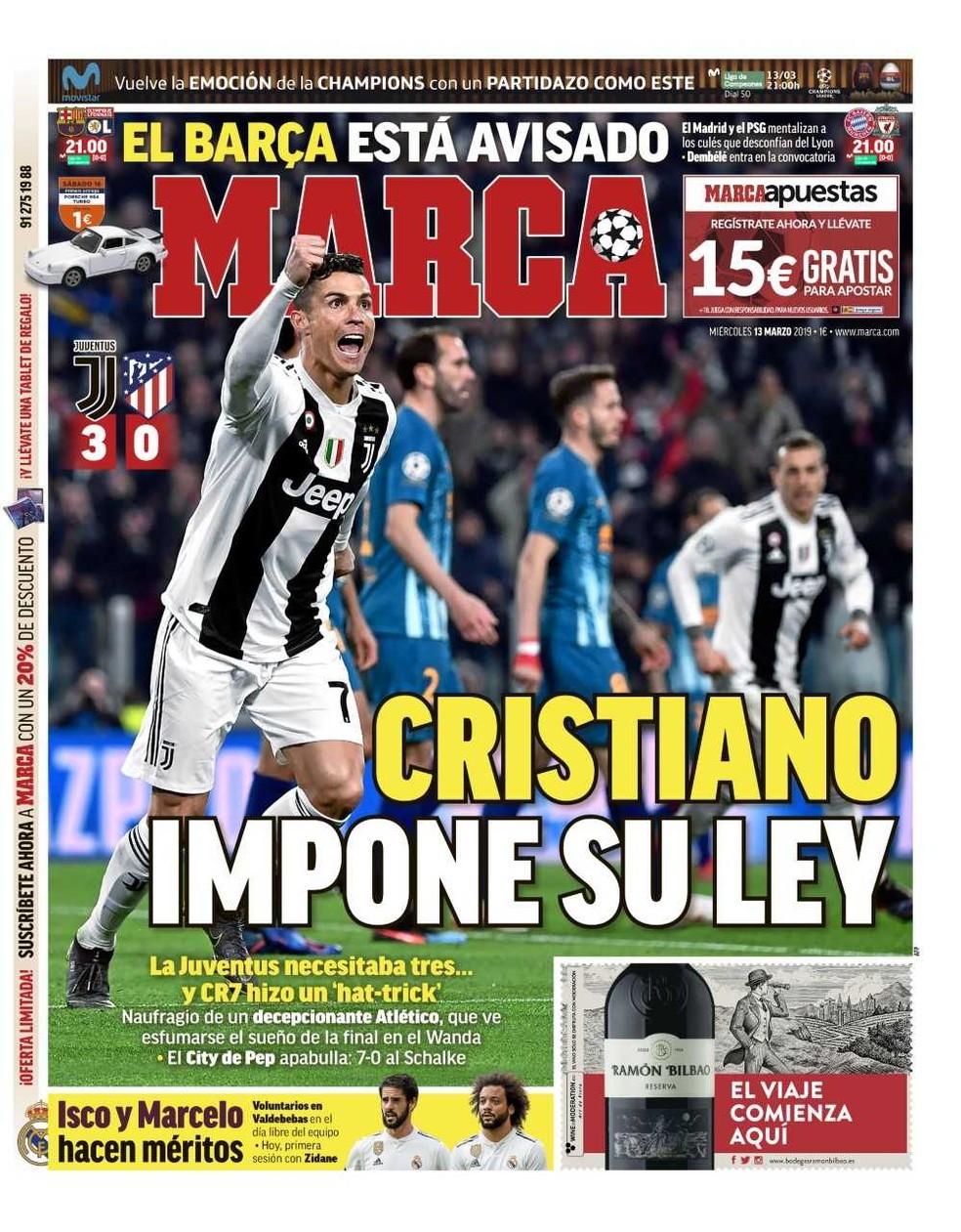 Capa Marca Juventus 3 x 0 Atlético de Madrid — Foto: Reprodução