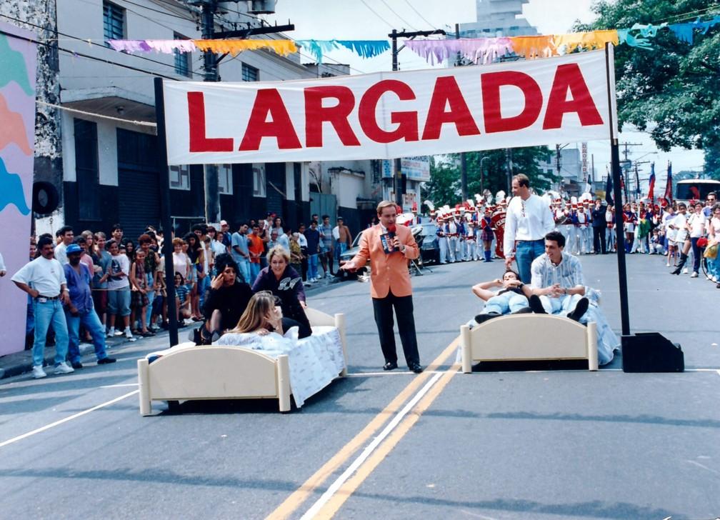 Gugu Liberato em gravação de quadro do 'Domingo Legal' — Foto: Moacyr dos Santos/Acervo do SBT