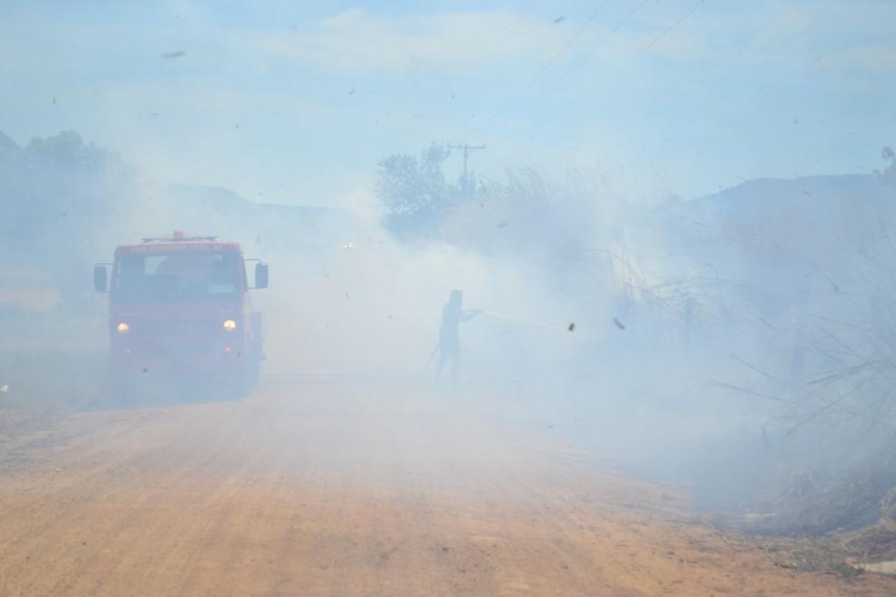 Incêndio nas margens de estrada vicinal causou muita fumaça na região — Foto: Bombeiros/Divulgação