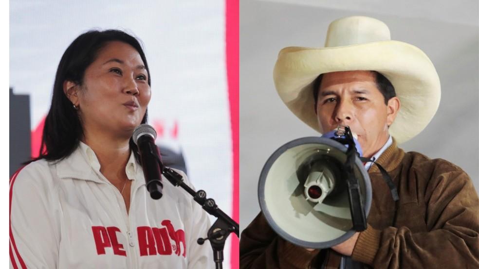 A candidata da direita conservadora, Keiko Fujimori, e o da esquerda radical, Pedro Castillo, disputam o 2º turno da eleição presidencial no Peru — Foto: Sebastian Castaneda/Reuters e Alessandro Cinque/Reuters