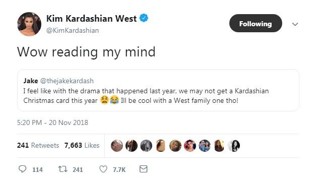Kim Kardashian fala sobre o possível futuro dos famosos cartões de natal de sua família (Foto: Reprodução twitter)