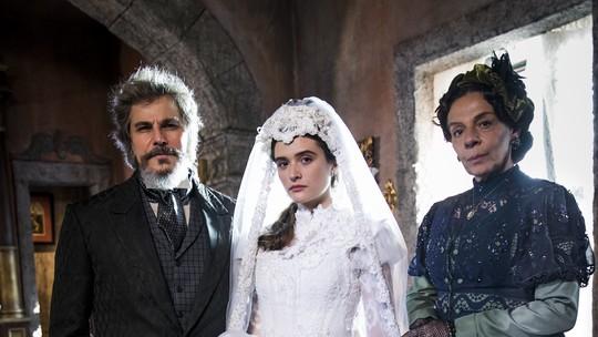 Estreia 'O Tempo Não Para': Personagem de Juliana Paiva é obrigada a se casar