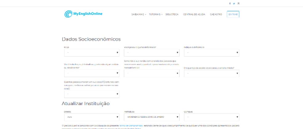 Complete as informações socioeconômicas e institucionais no site MyEnglishOnline (Foto: Reprodução/Daniel Ribeiro)