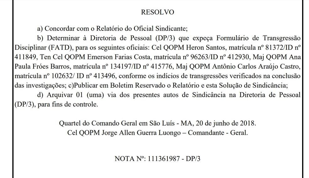 Expedição de um Formulário de Transgressão Disciplinar foi determinado contra quatro oficiais no caso da suposta espionagem de políticos no MA (Foto: Reprodução)