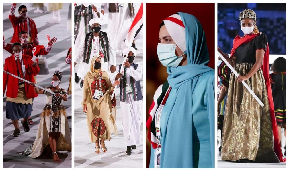 Cerimônia de abertura dos Jogos de Tóquio: os looks das delegações — Foto: @Tokyo2020/Reprodução