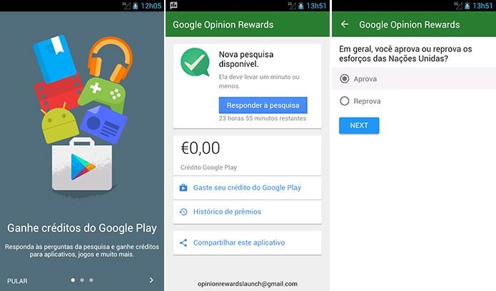 Google Opinion Rewards dá créditos na Play Store através de pesquisas de opinião (Foto: Divulgação/Play Store)