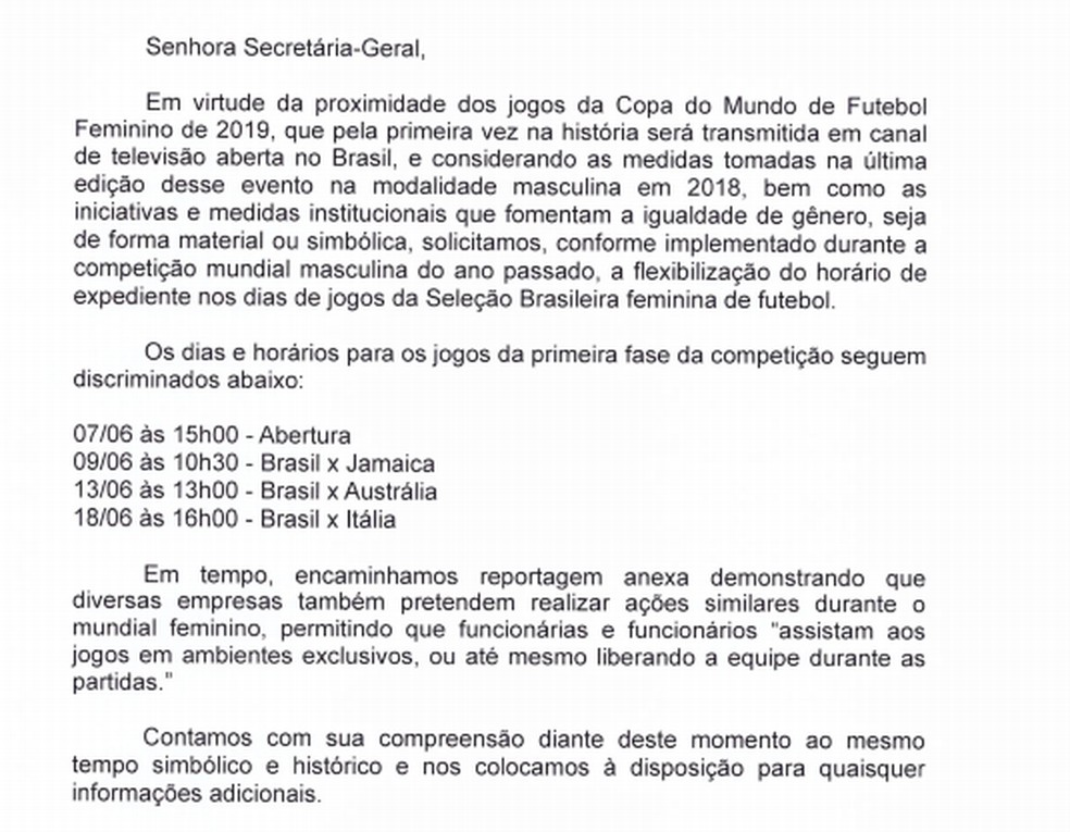 Ofício protocolado na Secretaria-Geral do CNMP — Foto: Reprodução