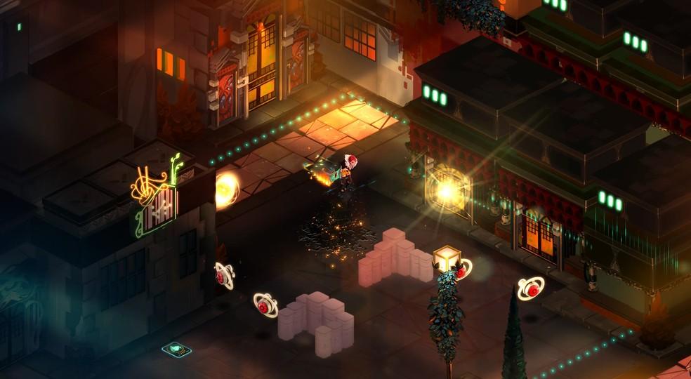 A protagonista de Transistor, Red pode obter novos poderes encontrando vítimas da força robótica Process — Foto: Divulgação/Supergiant Games