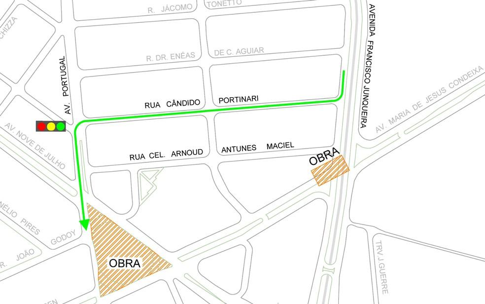 Desvio para obras de interligação de avenidas em Ribeirão Preto — Foto: Transerp/Divulgação