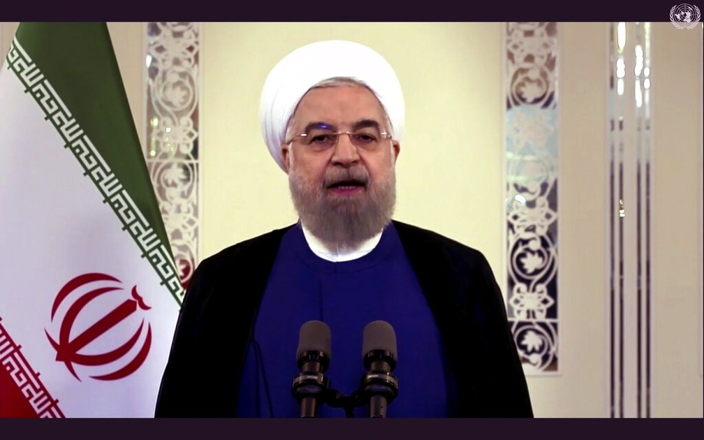 Hassan Rohani, presidente do Irã, discursa em vídeo pré-gravado para a Assembleia Geral da ONU nesta terça-feira (22) — Foto: UNTV via AP