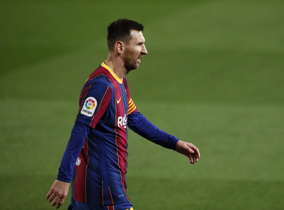 Messi chegou aos 650 gols pelo Barcelona neste domingo, na vitória por 2 a 1 contra o Athletic Bilbao — Foto: Albert Gea/Reuters