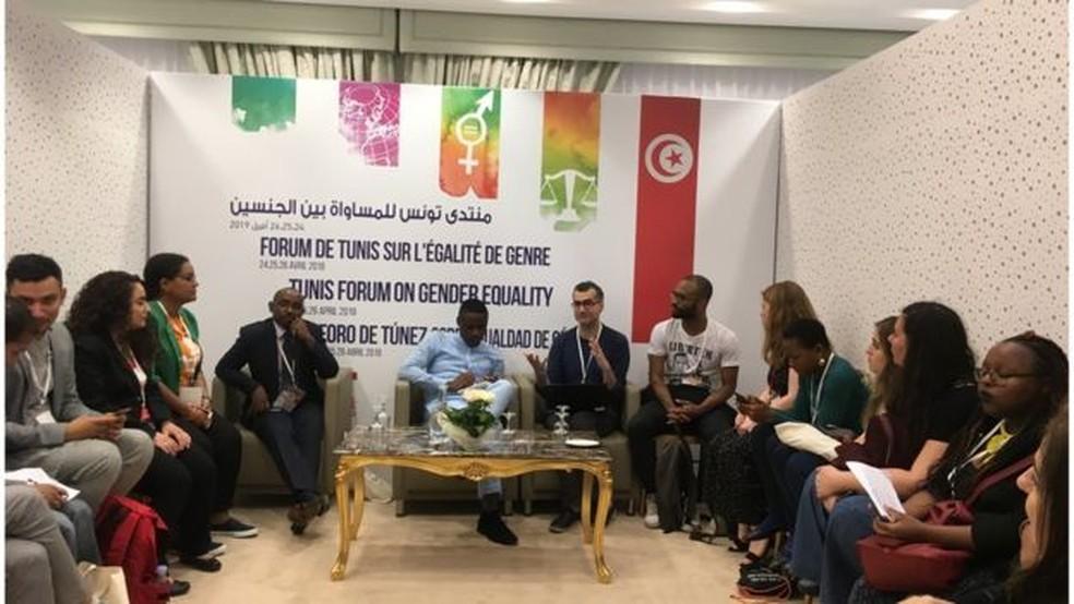 O professor carioca Caio César dos Santos participou do Fórum Internacional de Igualdade de Gênero na Tunísia, em abril — Foto: Caio César dos Santos/Arquivo Pessoal