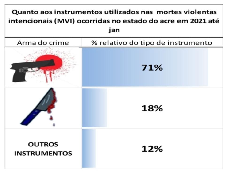 Em 71% das mortes violentas de janeiro no Acre foram usadas armas de fogo  — Foto: Reprodução