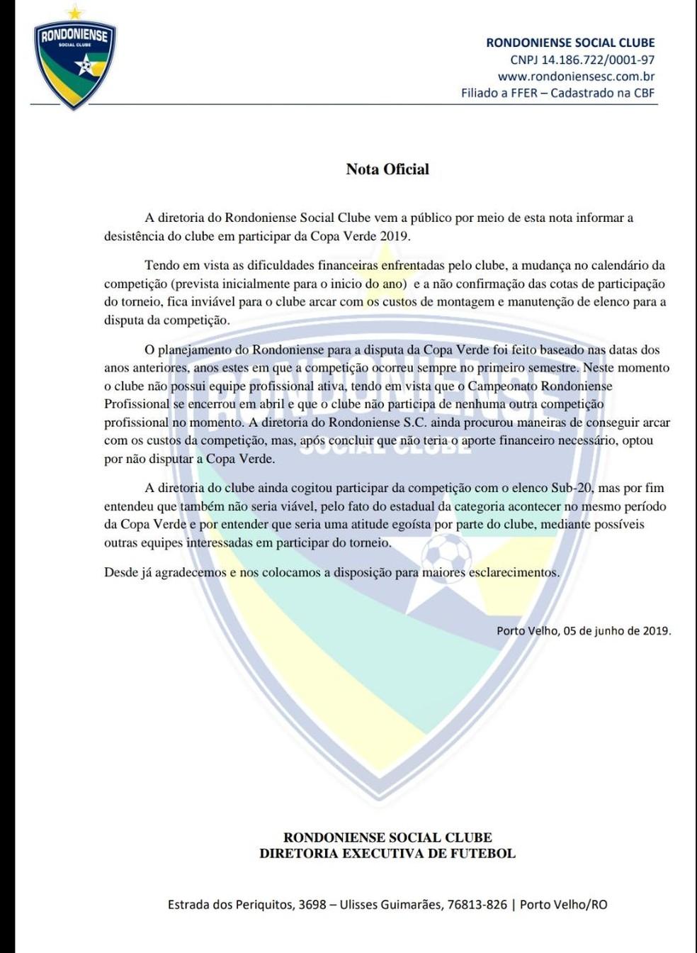 Nota oficial da desistência do Rondoniense na Copa Verde 2019 — Foto: Divulgação/Rondoniense Social Clube