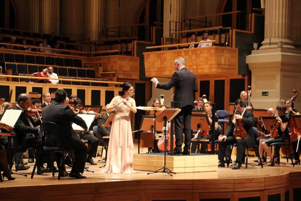Giovanna é academista da Orquestra Sinfônica do Estado de São Paulo — Foto: Orquestra Sinfônica do Estado de São Paulo/Facebook