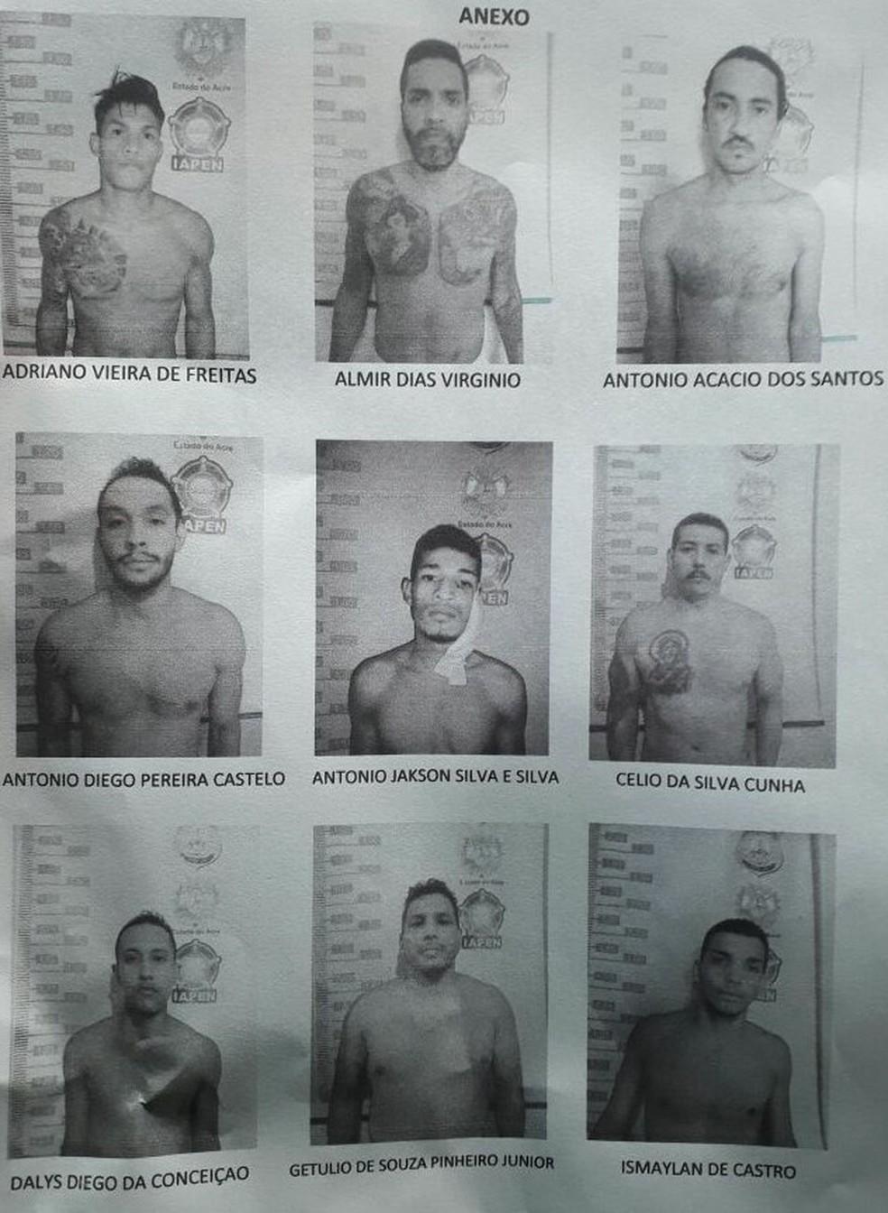 Iapen confirma lista dos nove presos que fugiram, na quarta-feira (28), de penitenciária em Rio Branco. Getúlio já foi recapturado (Foto: Divulgação/Iapen-AC)