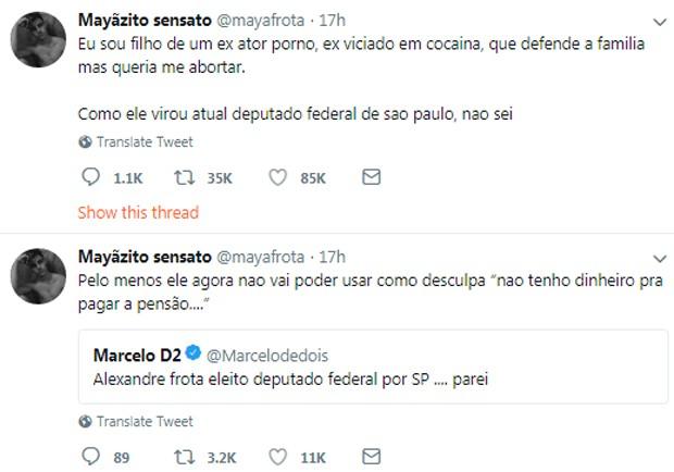 Publicações de Mayã Frota (Foto: Reprodução/Twitter)