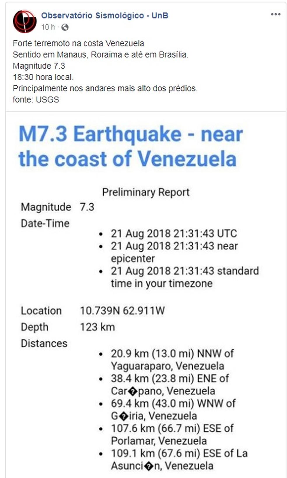 Observatório Sismológico da UnB confirma reflexo de terremoto de magnitude 7,3 ocorrido na Venezuela (Foto: Reprodução/Facebook)