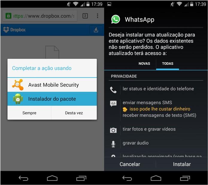 Após o download, instale a atualização no seu Android (Foto: Reprodução/Carol Danelli)
