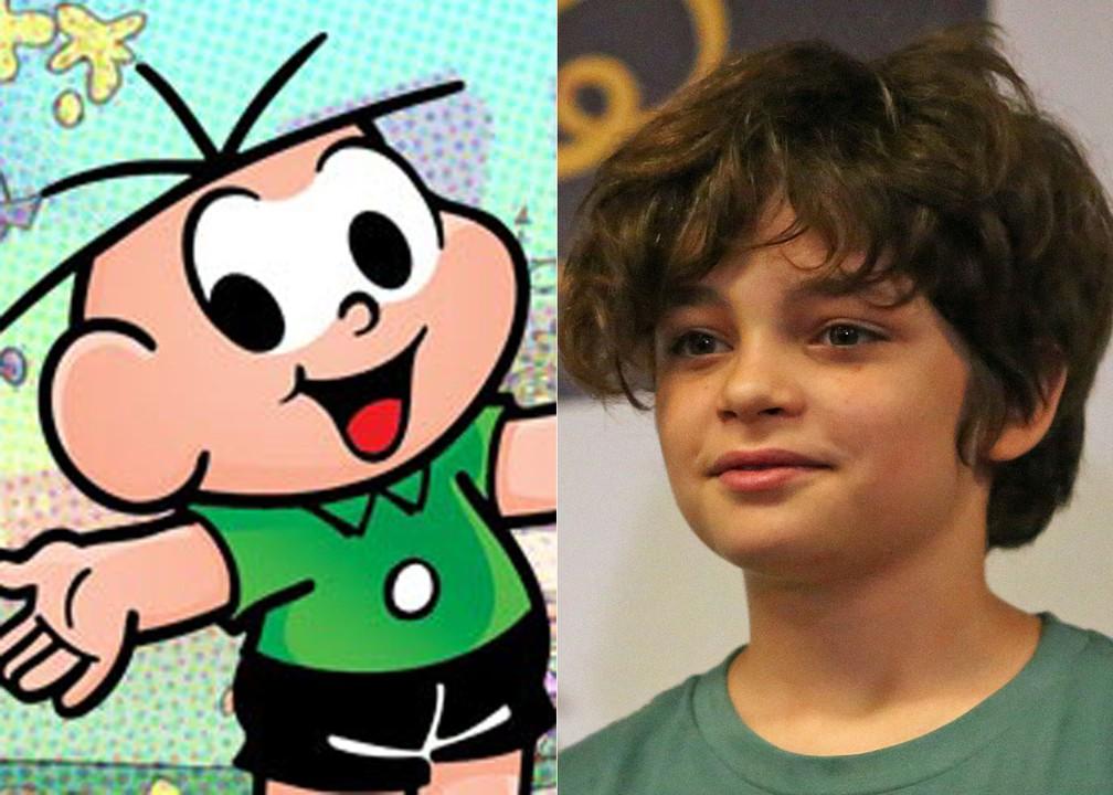 Kevin Vechiatto, de 11 anos, foi escolhido para interpretar o Cebolinha em 'Turma da Mônica – Laços' (Foto: Divulgação e Fabio Tito/G1)