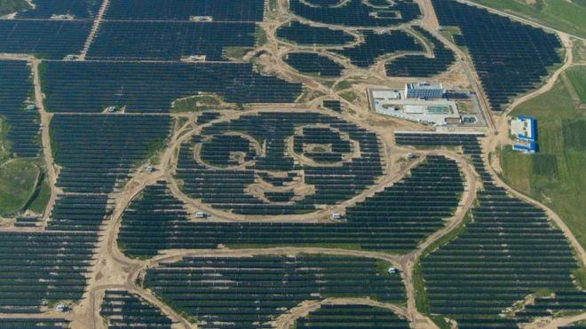 Painéis solares formam panda gigante avistado do alto (Foto: GETTY IMAGES/BBC)