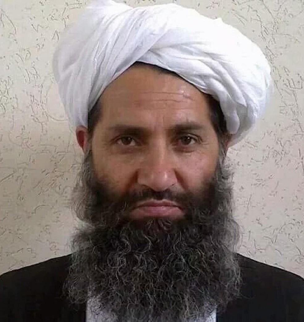 Chefe do Talibã, Mawlawi Hibatullah Akhundzada, em foto sem data — Foto: Talibã/AFP