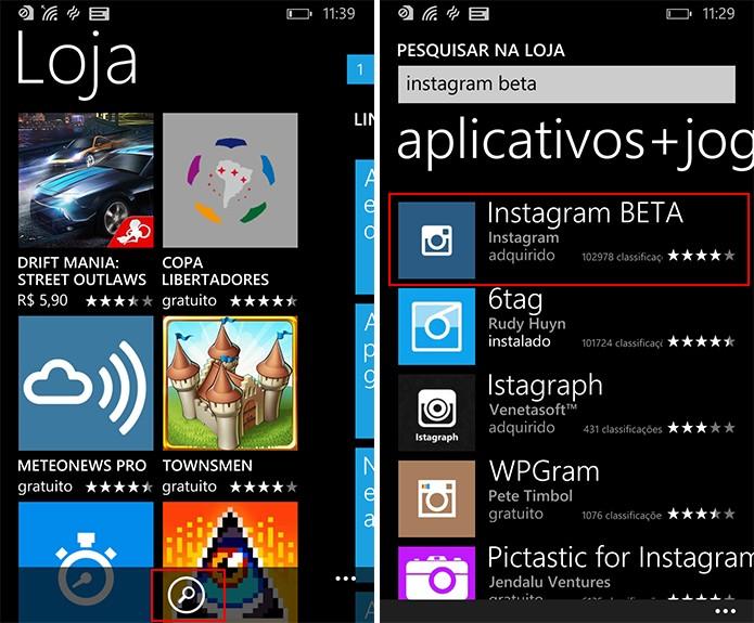 Instagram para Windows Phone pode ser baixado na loja do sistema (Foto: Reprodução/Elson de Souza)