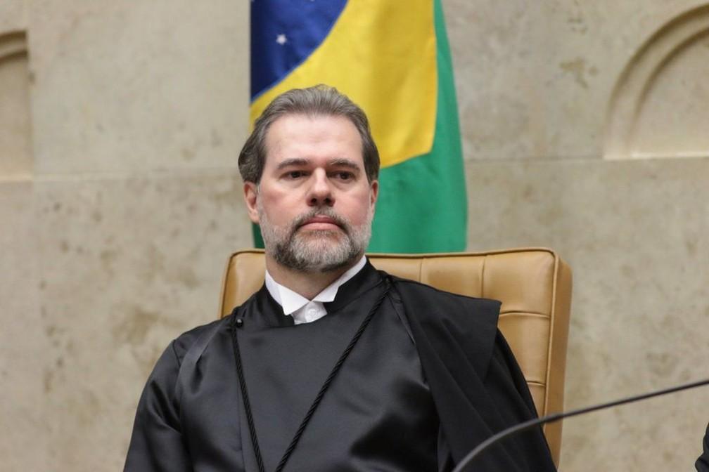 O ministro Dias Toffoli na cerimônia em que tomou posse na presidência do Supremo Tribunal Federal — Foto: CNJ/Agência Brasil
