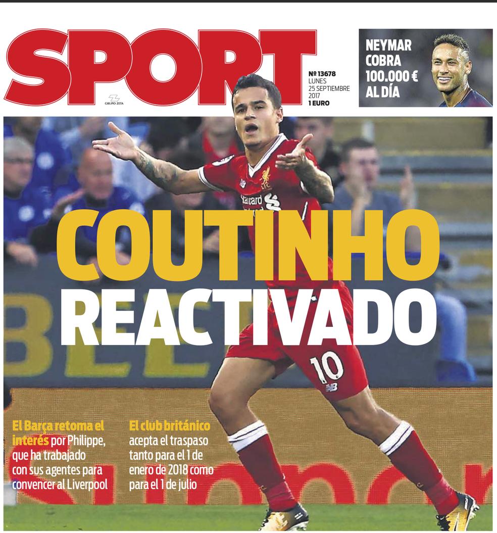 Philippe Coutinho é a capa do jornal
