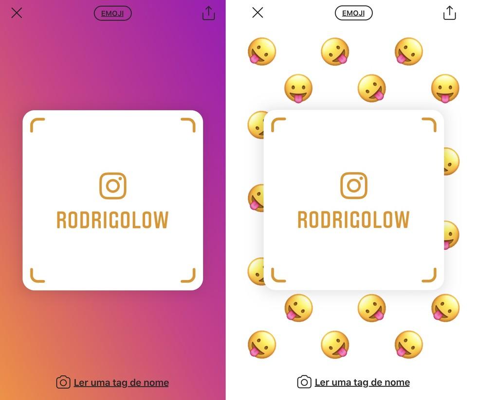 Tag de Nome do Instagram é um código de barras que identifica o perfil do usuário — Foto: Reprodução/Rodrigo Fernandes