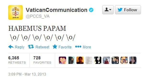 Vaticano postou em seu perfil oficial no Twitter que novo papa foi escolhido (Foto: Reprodução)
