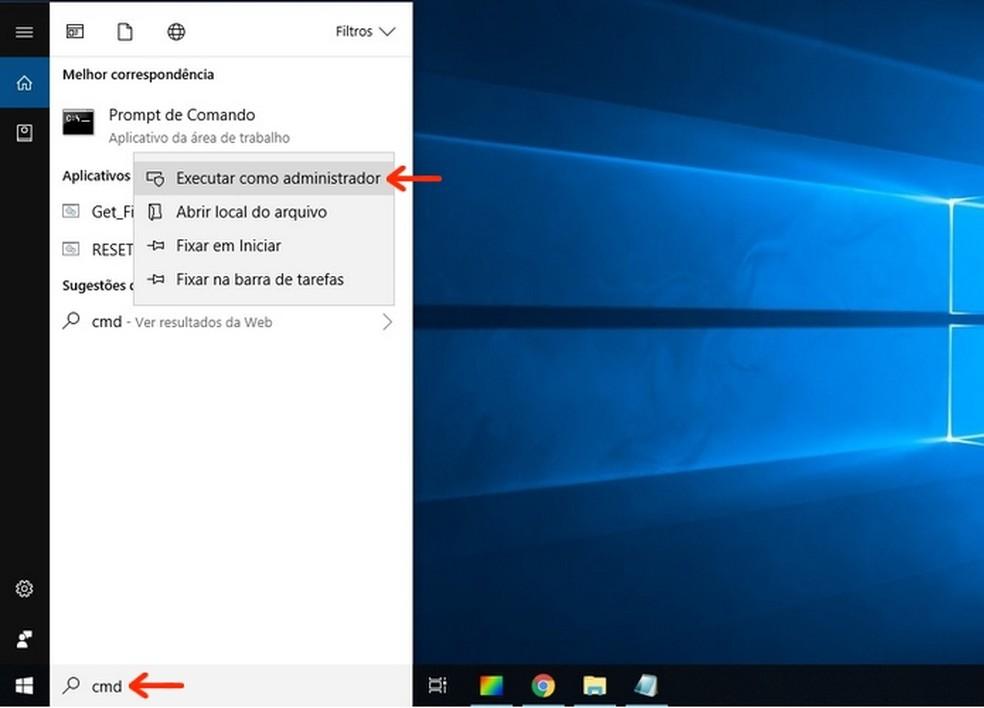 Abertura de Prompt de Comando do Windows 10 como administrador — Foto: Reprodução/Raquel Freire
