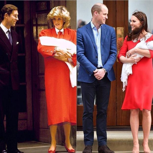 Kate Middleton usa vestido vermelho à exemplo da princesa Diana quando deu à luz o príncipe Harry (Foto: Reprodução / Instagram)