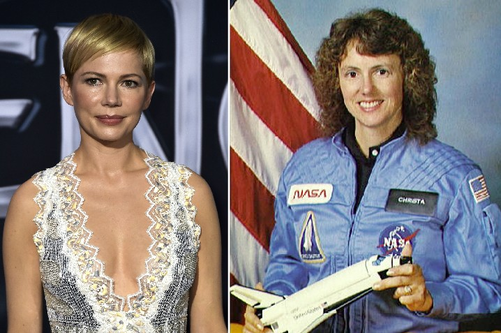 A atriz Michelle Williams e a professora e astronauta Christa McAuliffe (1948-1986) (Foto: Getty Images)