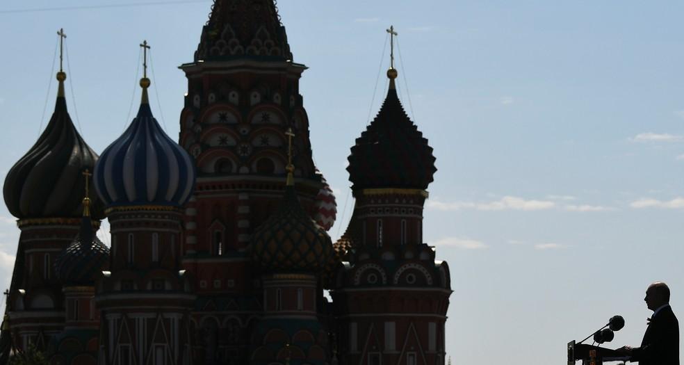 Putin discursa o Desfile do Dia da Vitória na Praça Vermelha em Moscou, Rússia — Foto: Ramil Sitdikov/Divulgação via Reuters
