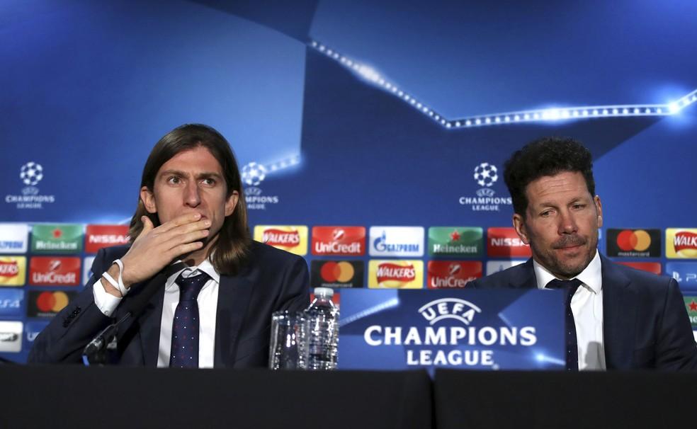 Filipe Luís e Diego Simeone concederam entrevista nas vésperas da partida (Foto: AP )