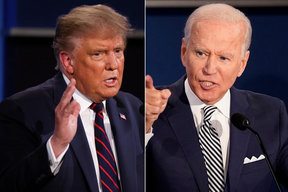 Trump e Biden no primeiro e único debate até aqui — Foto: Reuters