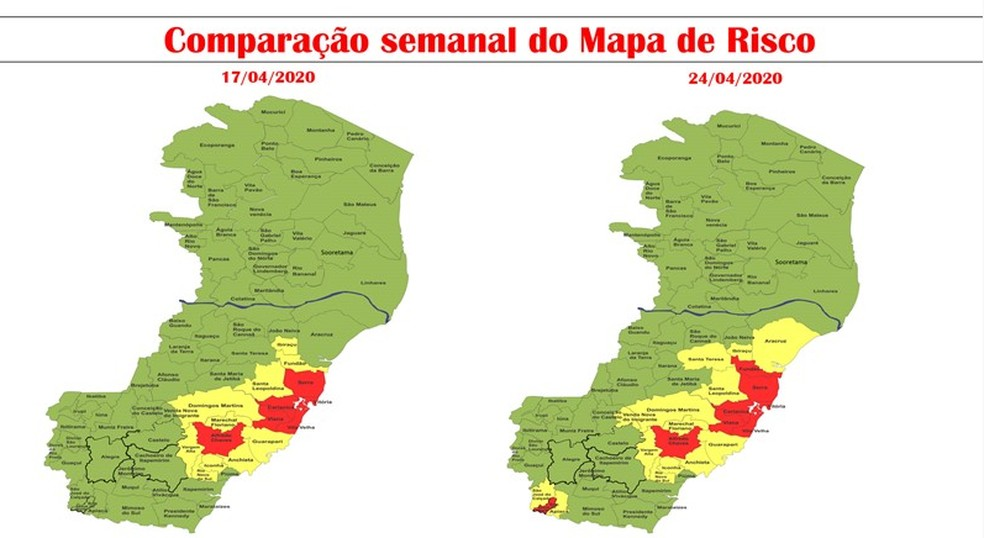 Mapa de Risco com inclusão de Bom Jesus do Norte e Fundão no Risco Alto — Foto: Divulgação/Governo do ES