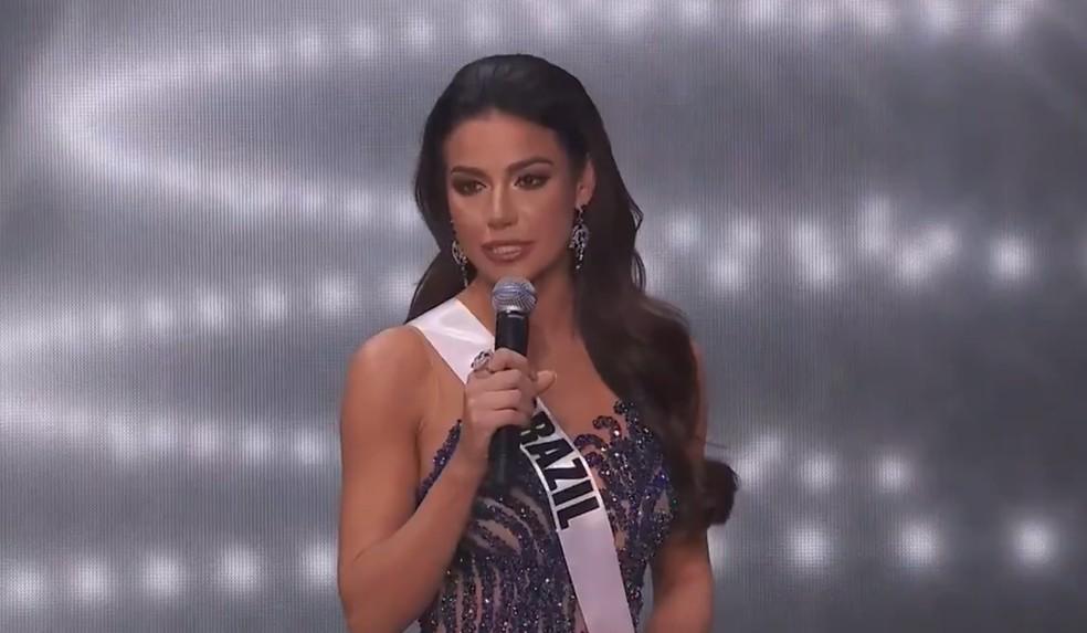 Julia Gama, a Miss Brasil 2020 — Foto: Reprodução Twitter/missuniverse