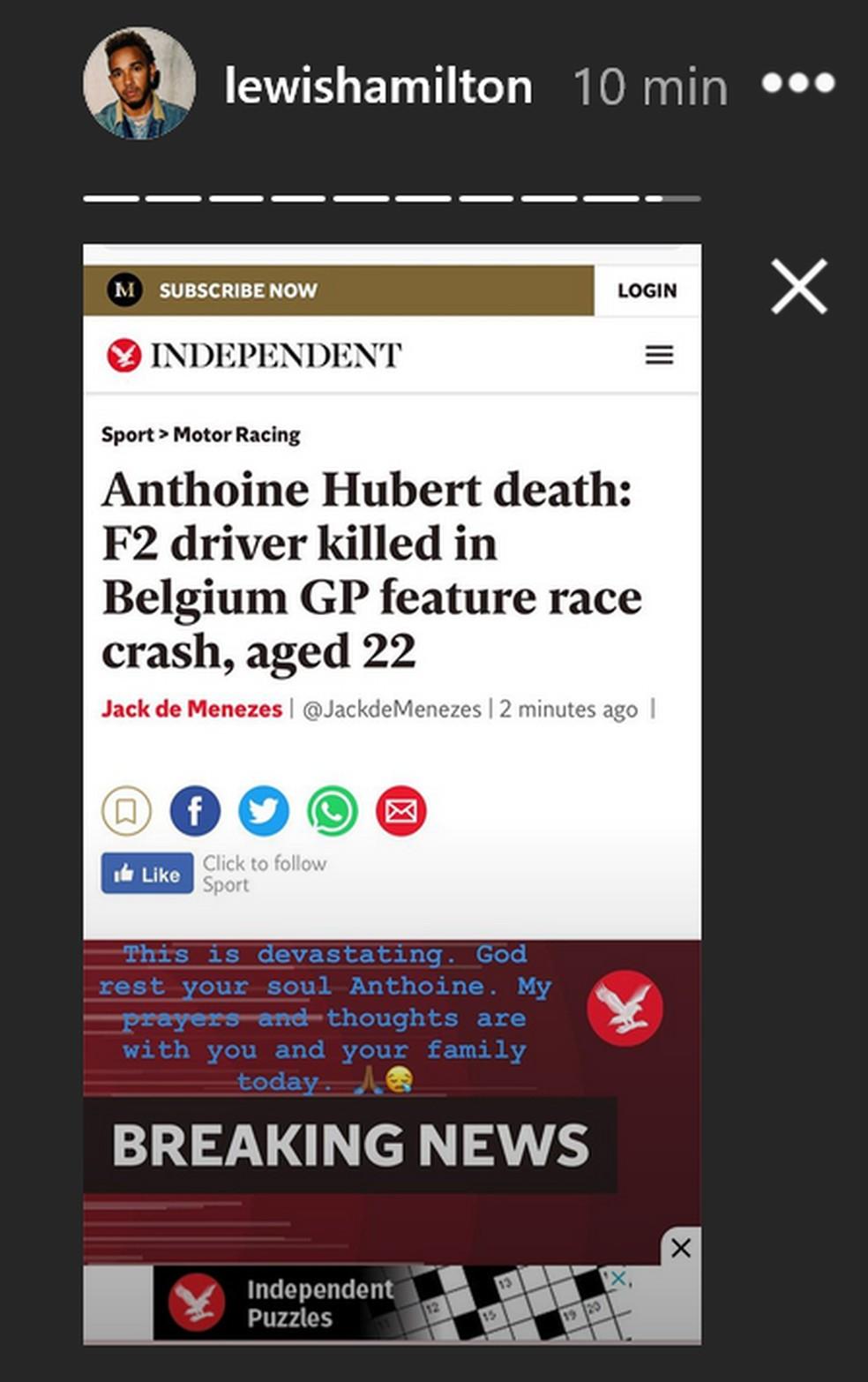 Lewis Hamilton reage a morte de Hubert — Foto: Reprodução