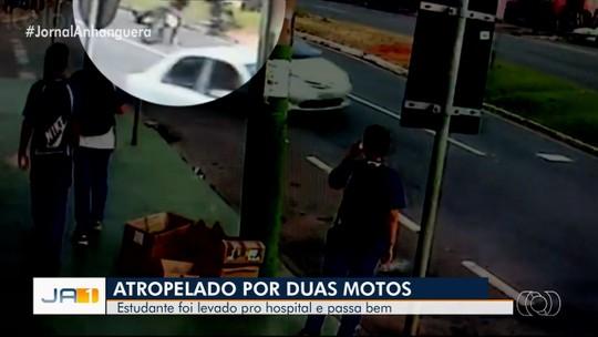 Estudante é atropelado por dois motociclistas após descer de ônibus em Anápolis; vídeo