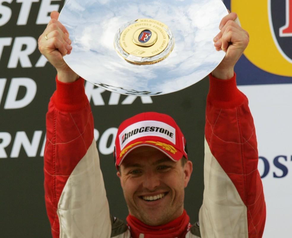 Ralf Schumacher em seu último pódio na Fórmula 1 — Foto: Getty Images