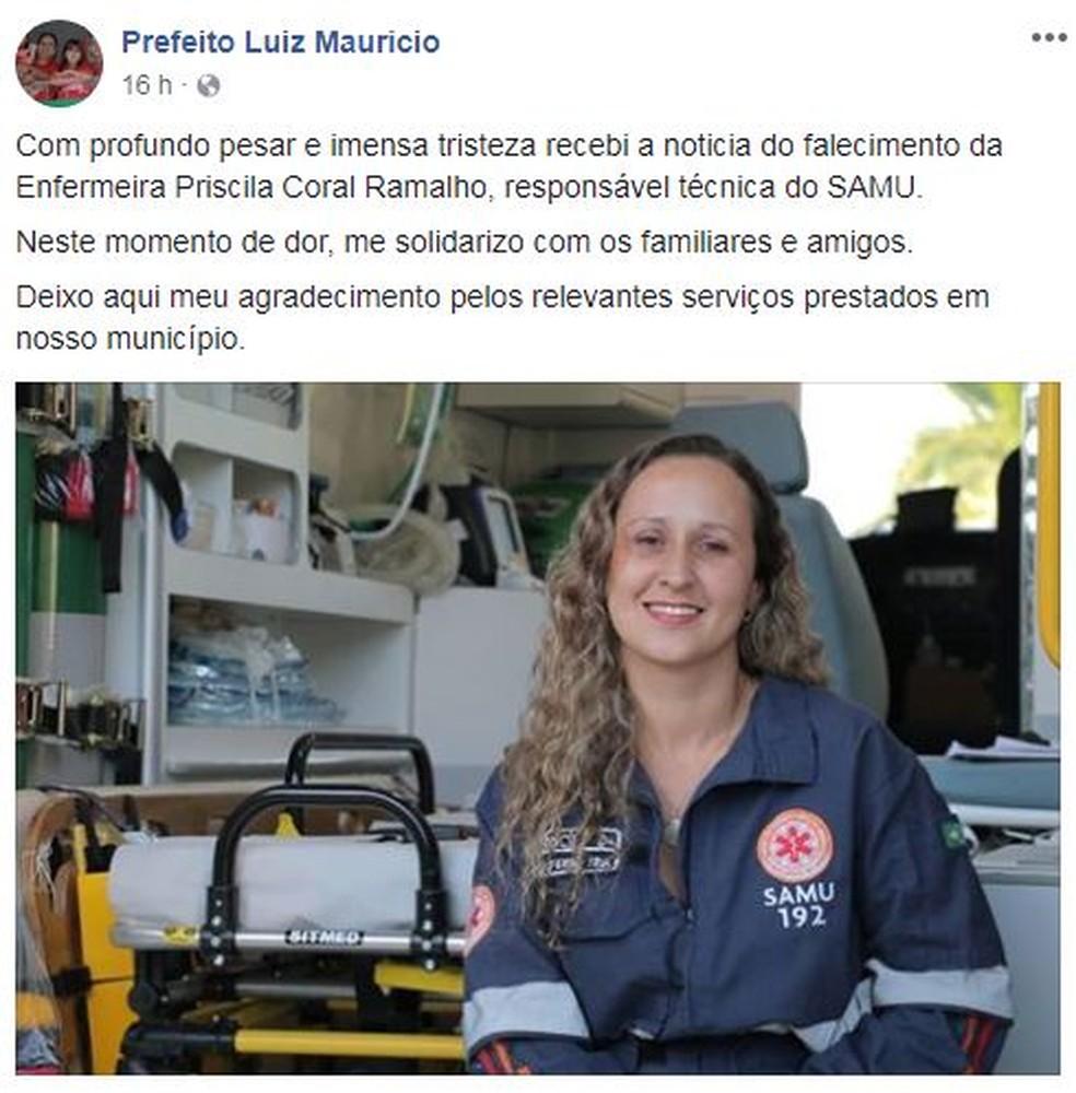 Prefeito da cidade presta solidariedade através de redes sociais (Foto: Reprodução /Facebook)