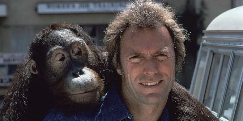Manis e Clint Eastwood em cena (Foto: divulgação)