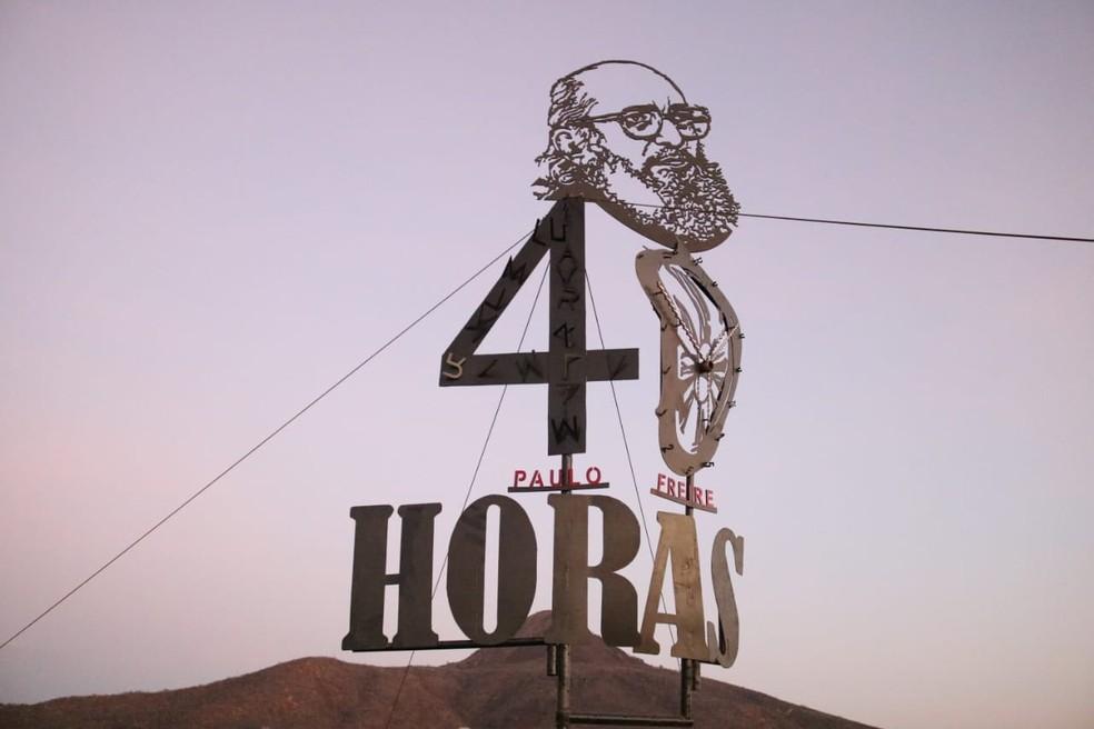Obra em homenagem a Paulo Freire foi inaugurada neste domingo (19) no RN — Foto: Raiane Miranda