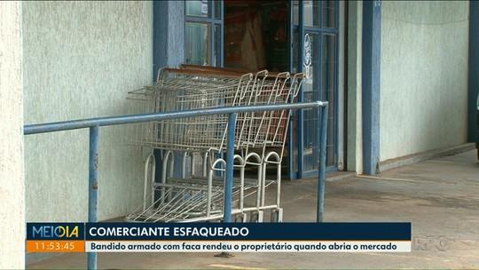 Dono de mercado é esfaqueado durante assalto em Umuarama