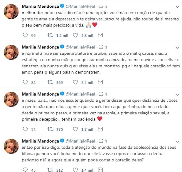 Tweets de Marília Mendonça (Foto: Reprodução/Twitter)