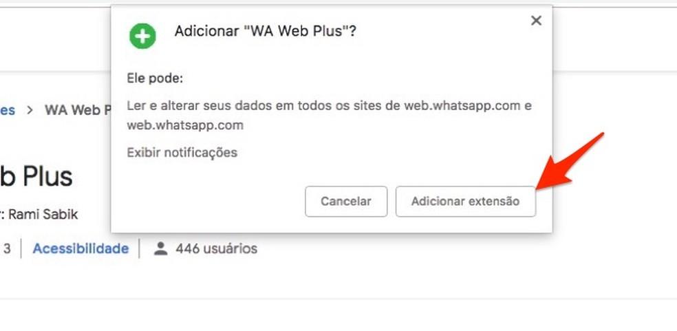 Ação para baixar e instalar a extensão WA Web Plus no Chrome — Foto: Reprodução/Marvin Costa