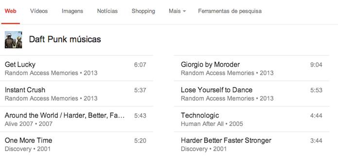 Busca por 'músicas do Daft Punk' retorna com o nome das faixas  (Foto: Reprodução/YouTube)